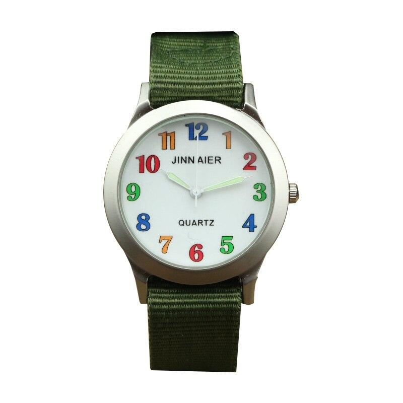 Hot Selling Kids Cute Colorful Digital Scale Canvas Army Sports Quartz Fashion Unisex Luminous Pointer Waterproof Watch