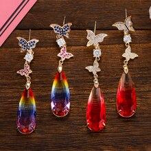 Siscathy Luxury Butterfly Dangle Water Drop Earrings Full Cubic Zircon Crystal Dubai Bridal For Women Wedding 2019