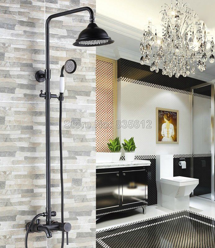 Wall Mounted Oil Rubbed Bronze Bathroom Shower Faucet Mixer Tap Set With Rain Shower Head Bathtub Mixer Tap Shower Set Brs324