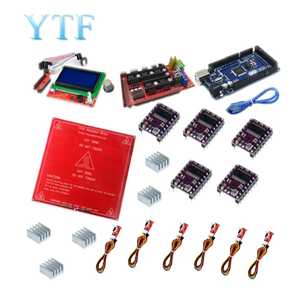 Free Shipping Reprap Ramps 1 4 Kit With Mega 2560 r3 HeatBed mk2b 12864 LCD Controller