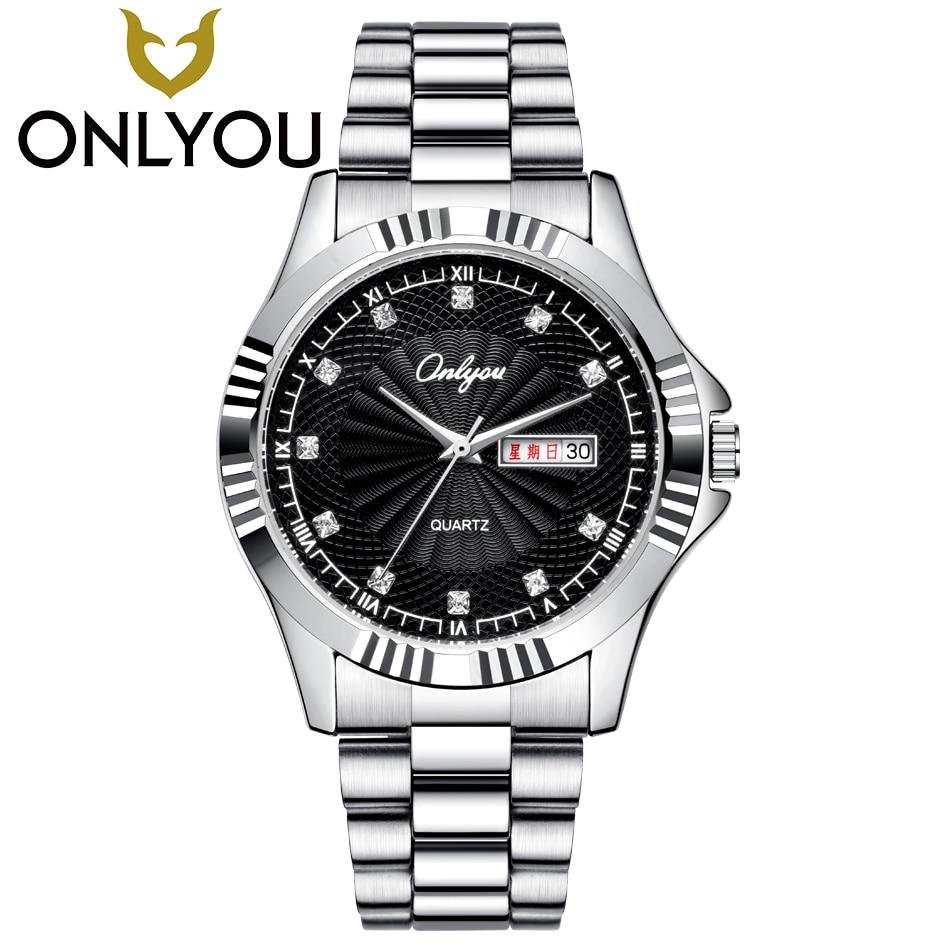 ONLYOU Fashion Lovers watches Business Stainless Steel Watch Women Luxury Brand Sport Waterproof Clock Men Stylish Casual Watch
