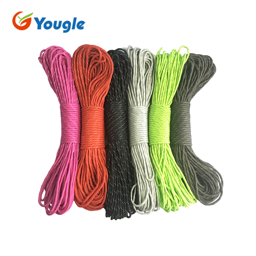 YOUGLE New 7 Core Strand 50 100FT Survival 550 Mil Spec III Reflective Parachute Cord Paracord