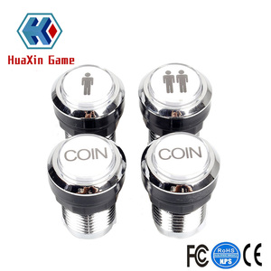 Arcade Buttons Chrome Silver Plated 5V / 12V LED Illuminated Push Button 1P / 2P Player Start Buttons / 2x Coin Buttons
