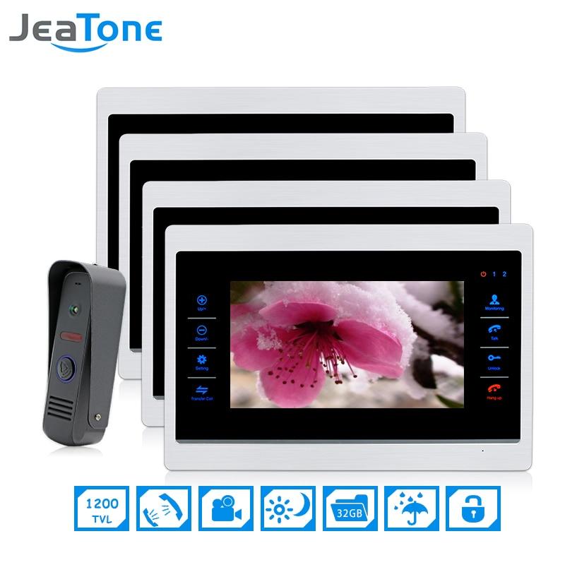 7 Inch 1 To 4 Video Door Phone Intercom Door Bell On Door Speaker Hands-free Touch Button Intercom Waterproof Doorbell JeaTone