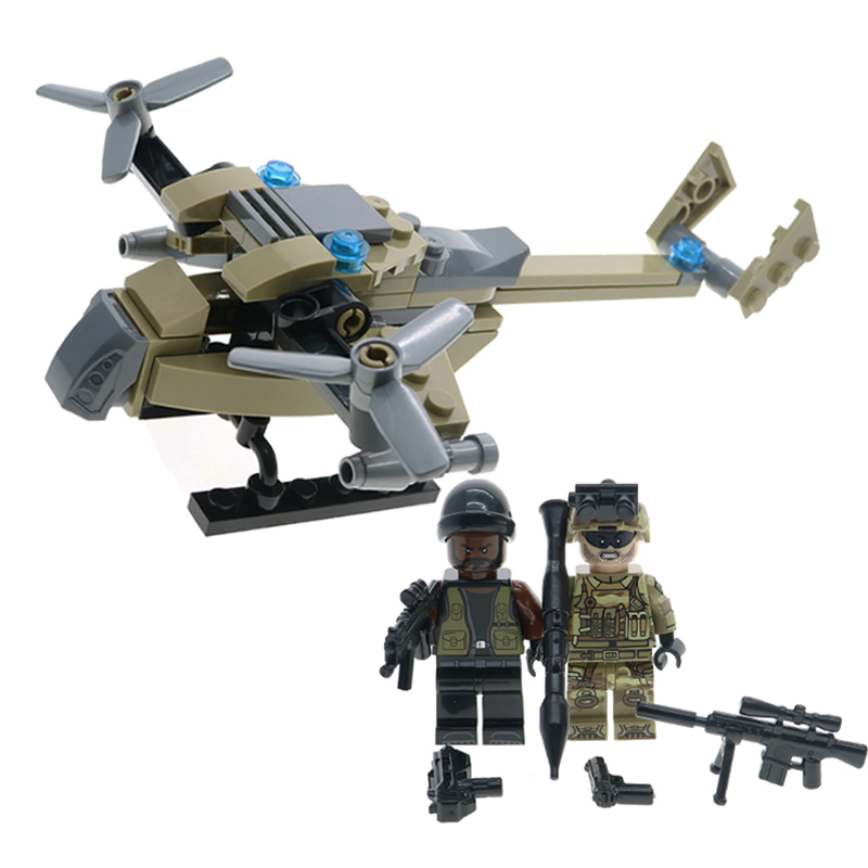 2017 Building Blocks WW2 Military Army soldiers & Helicopter Model Action Figures Educational Toys For Children hobbies 1001pcs military army headquarters model building blocks action figure diy learning blocks educational toys for children legoing