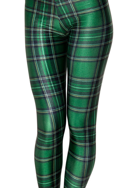 Fashion Women Scottish Green Grid Print Leggings Slim Fit Thin Elastic  Polyester Cos Party Pants Casual