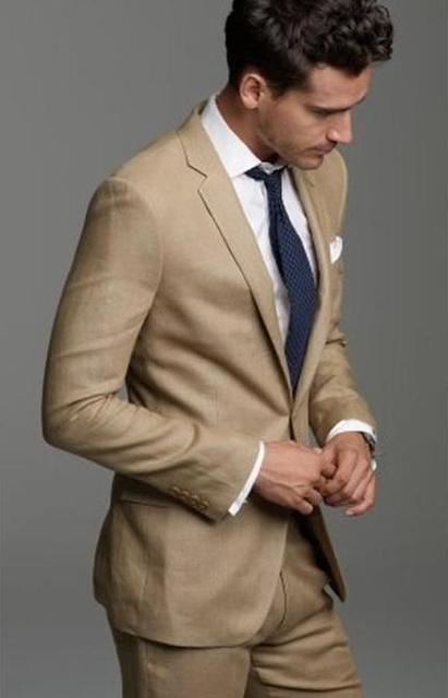 2017 Semplice Lino Beige Groom Tuxedo Custom Made Mens Wedding Party Abiti  Casual Uomo Vestito Dello 64105779d94