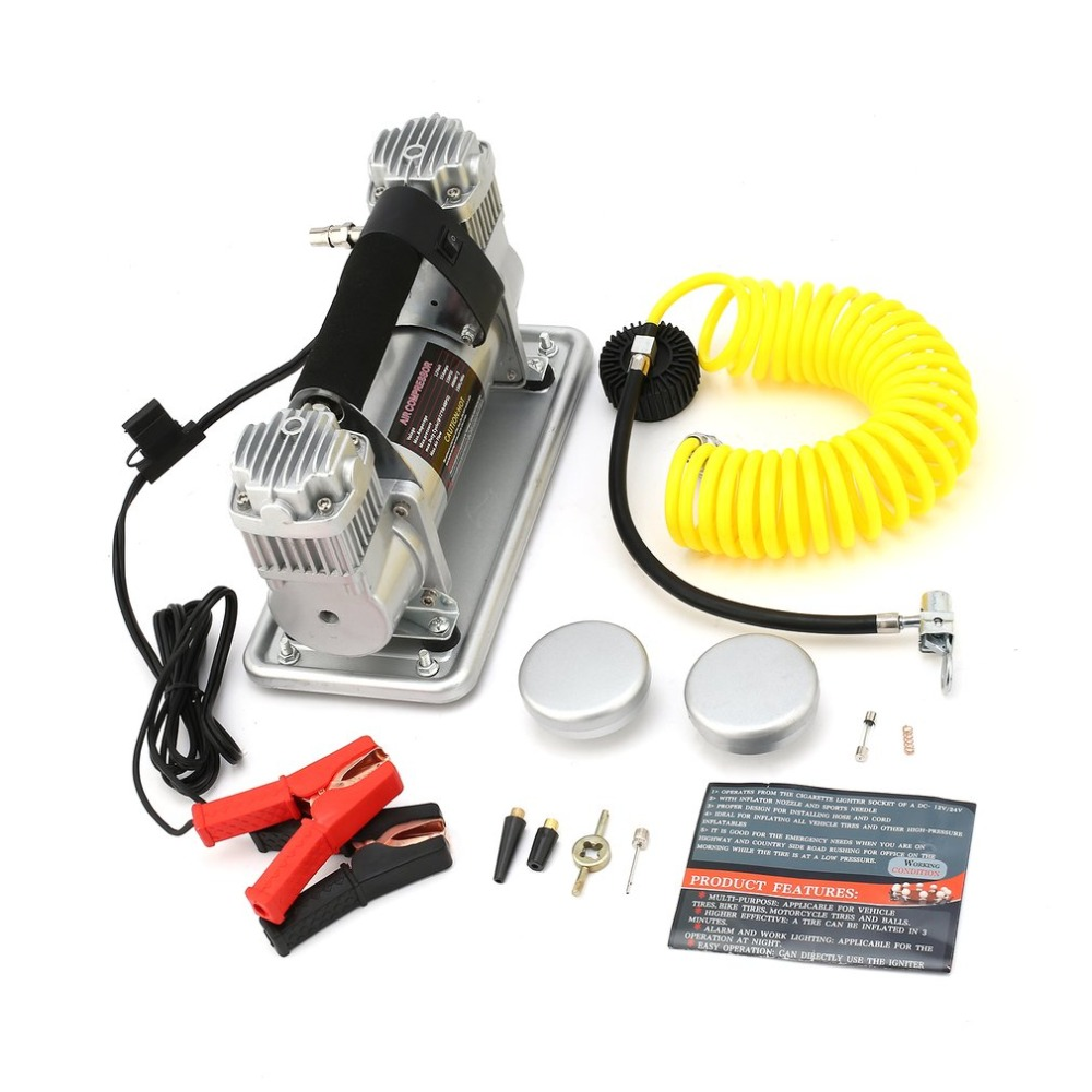 12v Air Compressor Car Tyre Inflator Double Cylinder Metal Car Tire Inflator Pressure Air Pump 150L/min Compressor Car Auto J35 auto mini handheld 100w car vacuum cleaner auto portable dust brush for car 12v car air compressor tyre inflator infation pumb