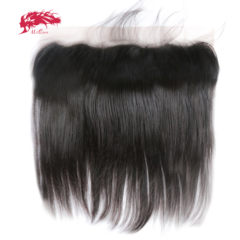 Ali Queen Hair 13x6 Lace Frontal Closure Brazilian Straight Virgin Hair Free Part Pre-Plucked With Baby Hair Free Shipping