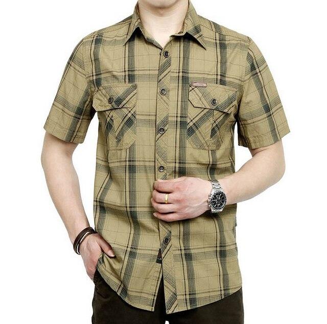 promotion free shipping 2014 14 summer War shirt men's short sleeve plus size Plaid cotton wash thin shirt 5002