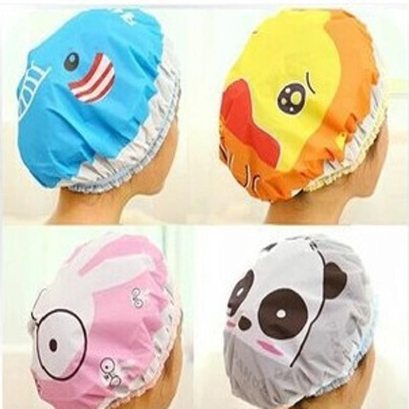 1PC Waterproof Shower Hat Elastic Band Hat Bath Hat Cute Cartoon Rabbit Elephant Lion Duck Panda Shower Hats Bathroom Accessorie