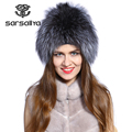 Winter fur hat for women real rex rabbit fur hat with silver fox fur flower knitted beanies sale women fur cap
