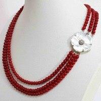 Europäischen stil 4 reihen-rote articifial korallen 6mm runde perlen natürlichen weißen mutter shell haken-halskette 17-18inchB1453