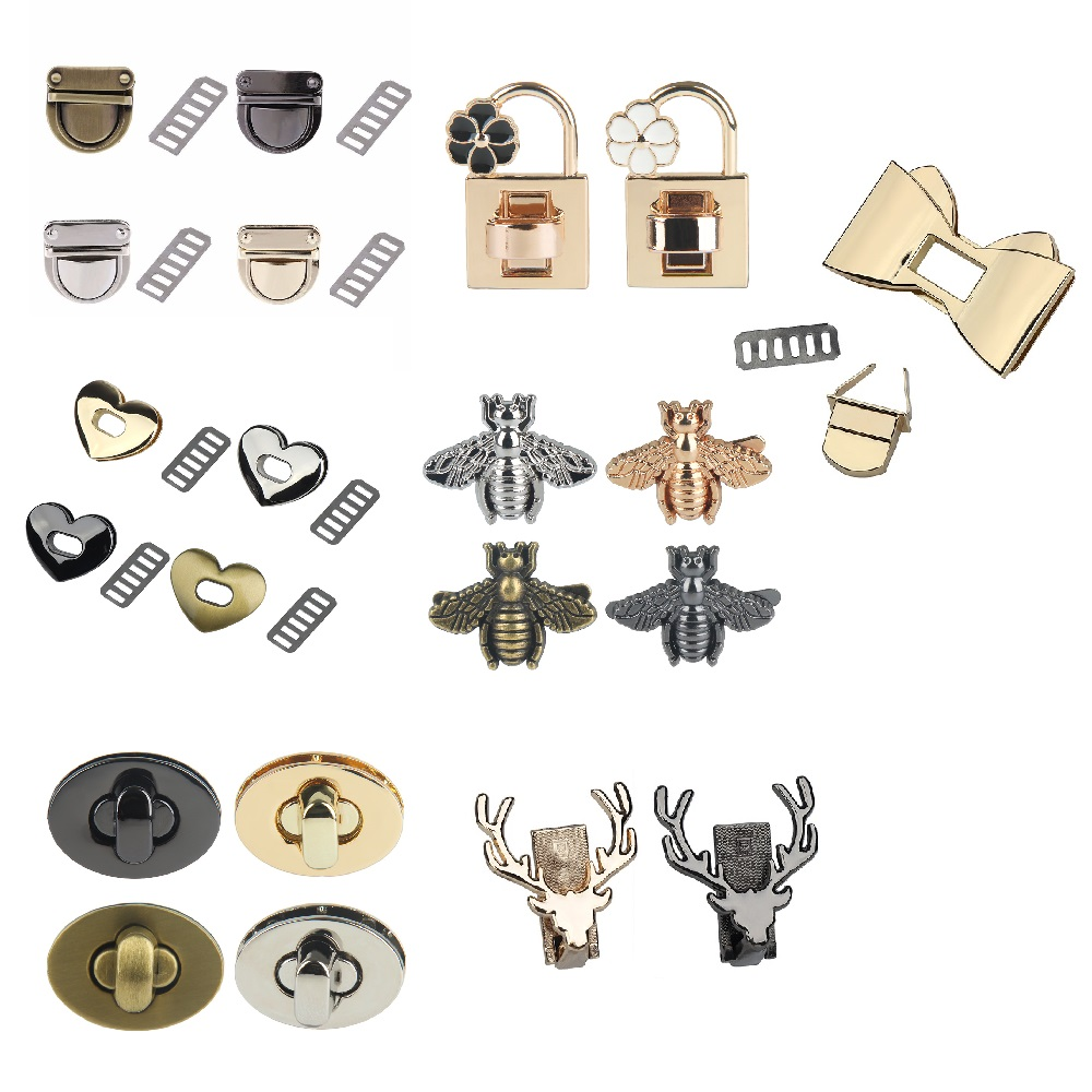 Metal Clasp Turn Lock Twist Lock For DIY Handbag Bag Purse Hardware Closure Bag Parts Accessories Luggage Bag Hardware Buckle