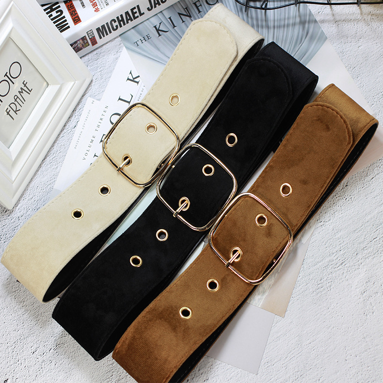 Newly Golden Buckle Suede   Belt   For Women Velvet Waist   Belt   PU Leather Fashion Ladies Wild   Belts   For Dress Clothing Decorations