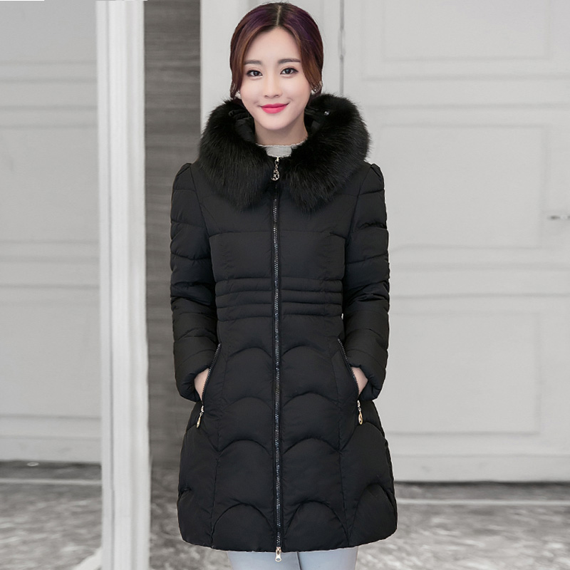 ФОТО 2016 Winter New Fashion Student Medium Long Size Causal Solid Color Fur Hooded Silm Women Coat