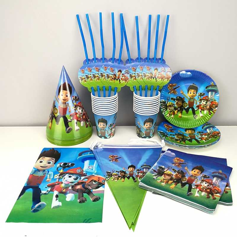 PAW Patrol Tableware set Drinking Water Bottles Paper Cups Plate Table Cover Cap For 10 Kids Brithday Party Decoration Supplies