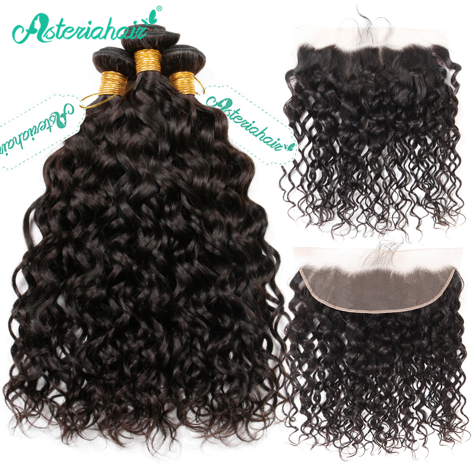 Asteria Hair Brazilian Water Wave Bundles With Frontal Closure Pre Plucked 3 PCS Human Hair Bundles With Lace Frontal Remy Hair