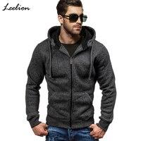 LeeLion 2018 Spring Hoodies Men Zipper Cardigan Sweatshirts Long Sleeve Slim Fit Cotton Sportswear Mens Solid