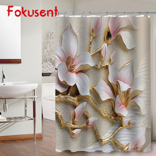 FOKUSENT High Quality Printed Luxury Orchid Peony Flower Rose Dandelion Polyester Fabric Bathroom Waterproof Shower Curtains