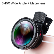 Sovawin HD 2 in 1 zero.45X Extensive Angle + Macro lens Common Cell Cellphone Lenses package Clip for Iphone for Samsung for Cell Cellphone