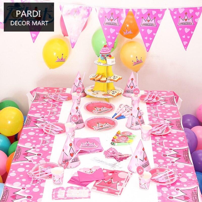 Princess Crown Theme Girl birthday party decoration kids party supplies set disposable tableware set 1set/lot