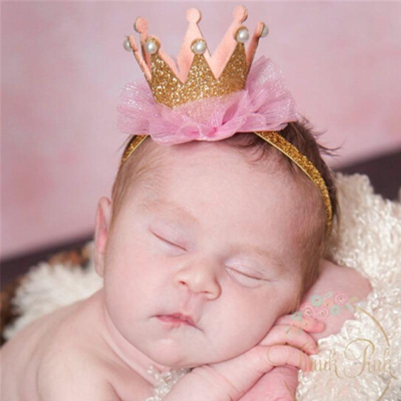 Hot Sale Gold Crown Headband for Kids Little Girls Boys Birthday Headband  Crown Newborn Headband Elastic Hair Accessories Kids e8a43ec4711