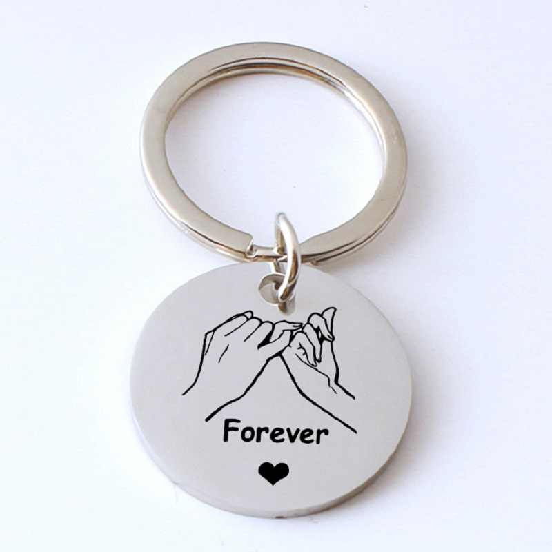 Custom Engrave Forever Heart Pull Hook Finger Key Chain Couple Gift for Women Boyfriend Girlfriend Car Bag Keychain Keyring Gift