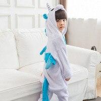 Bambini Tutina Blu Unicorn Pigiama Animal Cartoon Party Pigiama Invernale Manica Lunga Allentato Morbido Indumenti Da Notte Delle Ragazze Dei Ragazzi Carino Tuta