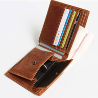 Crazy Horse Men Wallet Genuine Leather Short Male Purse High Quality Handmade Retro Coin Pocket Wallet