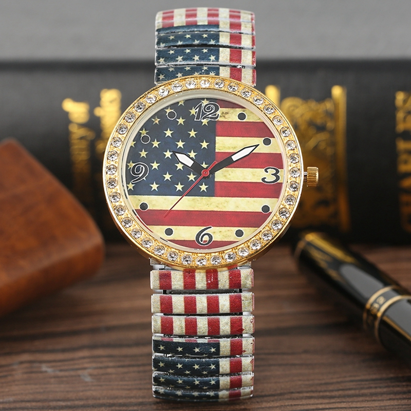 Vintage USA Flag American Women's Watch Crystal Diamond Quartz Elastic Band Ladies Dress Clock Female Gift Watches For Students