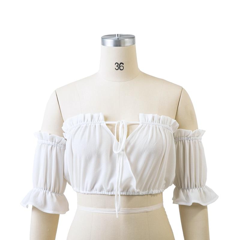 HTB1Rqtam25TBuNjSspmq6yDRVXaW - Backless Short sleeve white camisole shirt women Off shoulder tank top Ruching ruffle lace up tops JKP399