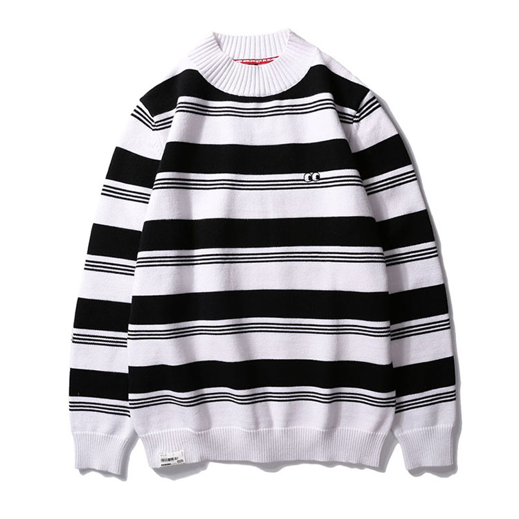 Aolamegs Striped Sweater Men Autumn Winter Fashion Casual Sweater Pullovers Harajuku Youth Couples Stripe Knitting Tops Clothing (4)