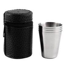4 шт. набор из 30 мл мини-бокалов для вина из нержавеющей стали бокалы должны иметь кожаный защитный мешок для дома, кухни, бара инструменты