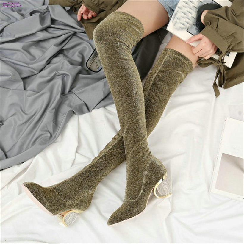 NAYIDUYUN 2018 Thigh High Boots Women Velvet Rount Toe Over The Knee Boots Lady Stretchy Slim Leg High Heel Party Pumps Shoes