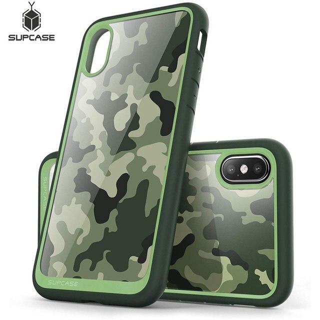 SUPCASE For iphone X XS 케이스 UB 스타일 프리미엄 하이브리드 보호 케이스 TPU 범퍼 + iphone X Xs 5.8 인치 용 뒷면 커버 (Camo/Green)