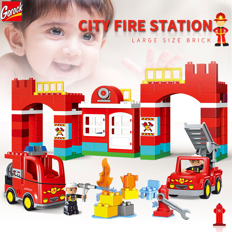 Gorock City Fire Station Series Large Particle Building Block Toy City Fire Engine DIY Large Size DIY Brick Toy Compatible Duplo kid s home toys large particles happy farm animals paradise model building blocks large size diy brick toy compatible with duplo