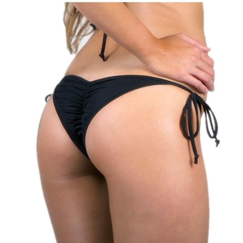 Cheeky Brazilian Bikini Bottom with Ruched Back/ Scrunch butt bikini Micro bottoms Thong-Lined-Ruched- High Quality Swimwear