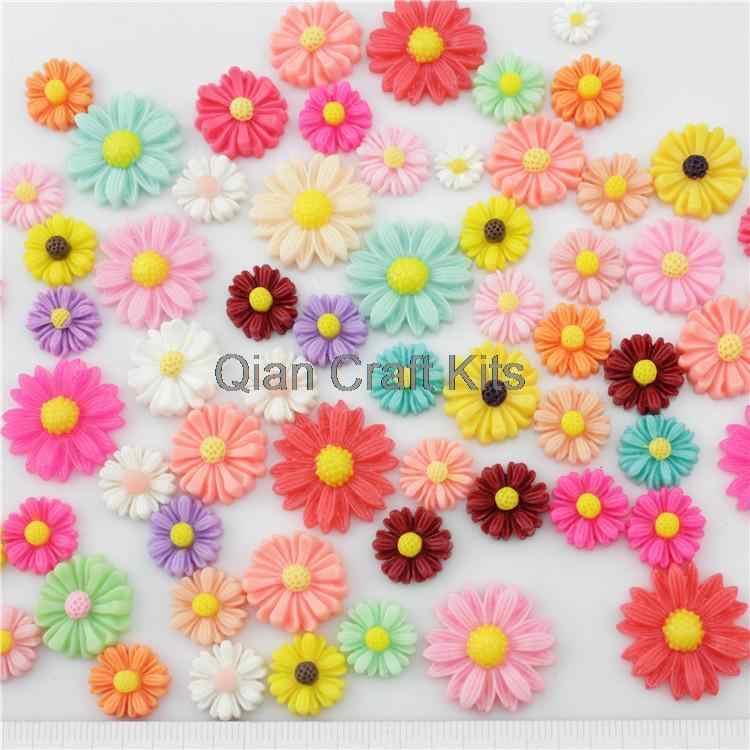 10 pcs เรซิ่น Daisy Cabochons ผสมสีขนาด (10mm - 22mm) ดอกไม้เรซิ่น, ดอกทานตะวันหลายแบบผสม sampler ชุด