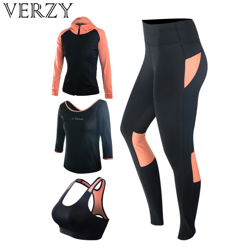 New Yoga Set Women's Gym Clothes Black Sport Bra+Pants+T-Shirt+Coat 4 Pcs Fitness Running Sports Suit Breathable Sport Leggings black see through detail fashion sport leggings