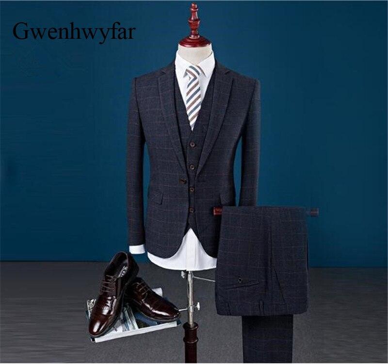 Nouvelle Grey Blue Gilet Formelle Arrivée Pour Foncé PantalonDark 2018 Les Marque dark Plaid Slim Fit Costumes D'affaires Costume Bleu Hommes De Élégantblazer Mariage 6gbfyYv7