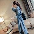 O Envio gratuito de 2017 de Moda de Nova Longo Mid-bezerro Primavera E No Outono Água Lavado Denim Casacos Vestidos Com Fendas Camisetas vestidos