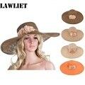 A261 Womens Kentucky Derby Wide Brim Flower Straw Summer Floppy Beach Hat
