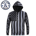 Men's Stylish Autumn Long Sleeve 3D Print Dark Color Flag Pattern Hoody Sweatershirts with Hat Pullover Sportwear