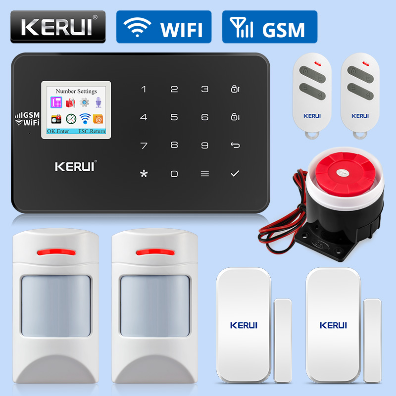 KERUI W18 WIFI GSM Alarm Systems Security Home Wireless Smart Home Security Alarm APP Control Pet-friendly Motion Detector Kits