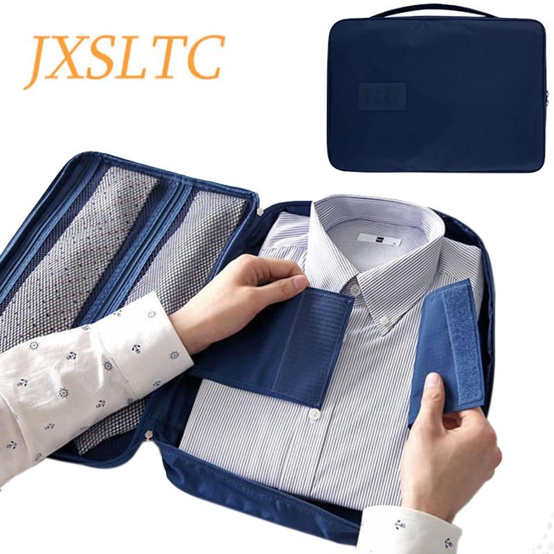 JXSLTC Men's Nylon Luggage Travel Bags For Shirt Lightweight Packing Organizer Garment Packing Cubes Luggage Suitcase Male Bag
