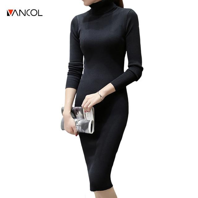 4f19807c251 Long Sleeve High Neck Cotton Slim Sexy Long Bodycon Plain Color Black Gray  Turtleneck Knit Sweater Dresses Women Winter Dress