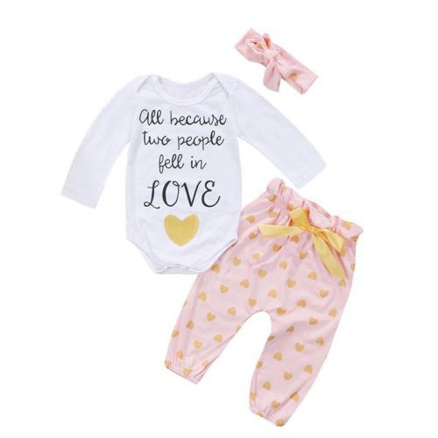 2018 Hot Sale Toddler Infant Baby Girls Heart Print Romper Pants Headband Outfits Clothes Set Comfortable And Breathable 6.15