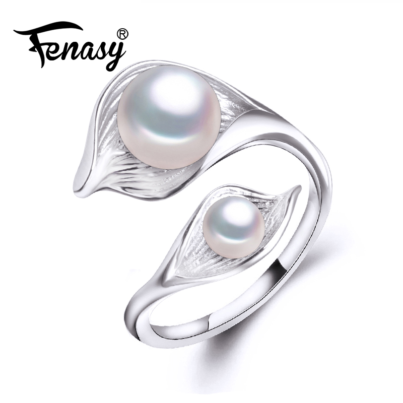 FENASY Double Pearl Ring bohemia 2018 New trendy S925 Sterling silver Rings for women freshwater Pearl ring Adjustable charms