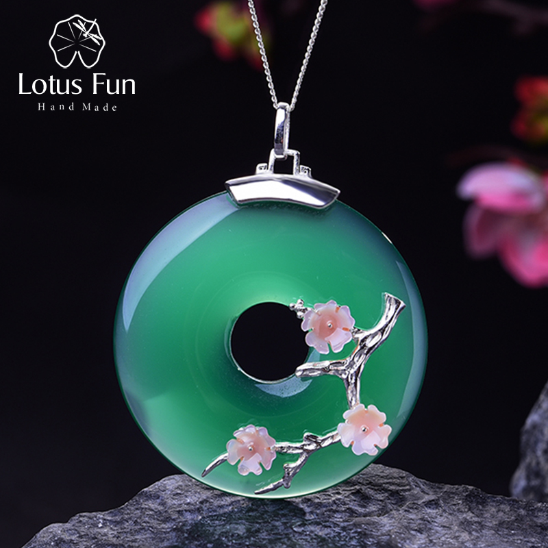 Lotus Fun Real 925 Sterling Silver Handmade Fine Jewelry Shell Plum Flower Natural Gemstones Pendant Without Necklace For Women